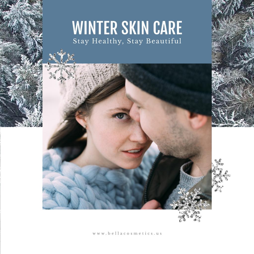 Skincare Guide with Tender Couple in Winter Clothes — Create a Design