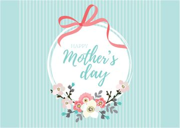 Happy Mother's Day with Flowers and Ribbon