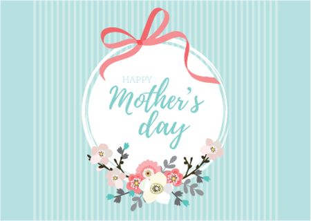 Szablon projektu Happy Mother's Day with Flowers and Ribbon Postcard