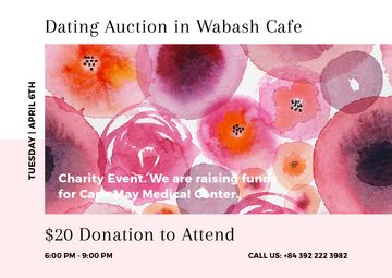 Dating Auction announcement on pink watercolor Flowers