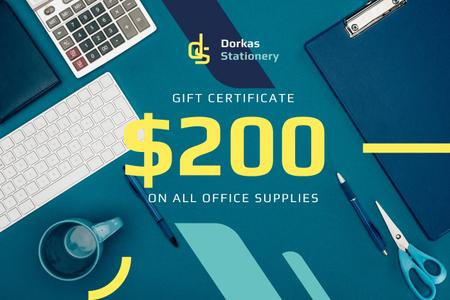 Ontwerpsjabloon van Gift Certificate van Office Supplies Ad with Stationery and Keyboard in Blue