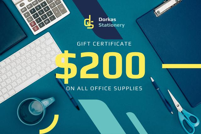 Office Supplies Ad with Stationery and Keyboard in Blue Gift Certificate – шаблон для дизайна