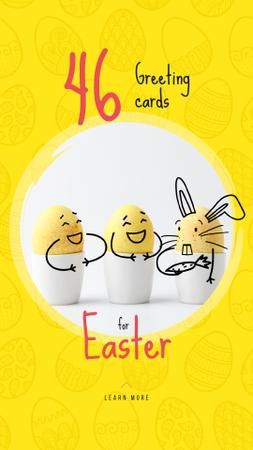Greeting Cards Offer with cute Easter Eggs Instagram Video Story Modelo de Design