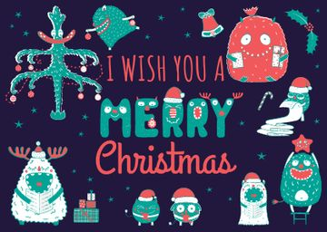 Merry Christmas Greeting with Funny Monsters