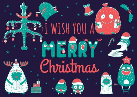 Merry Christmas Greeting with Funny Monsters Card Tasarım Şablonu