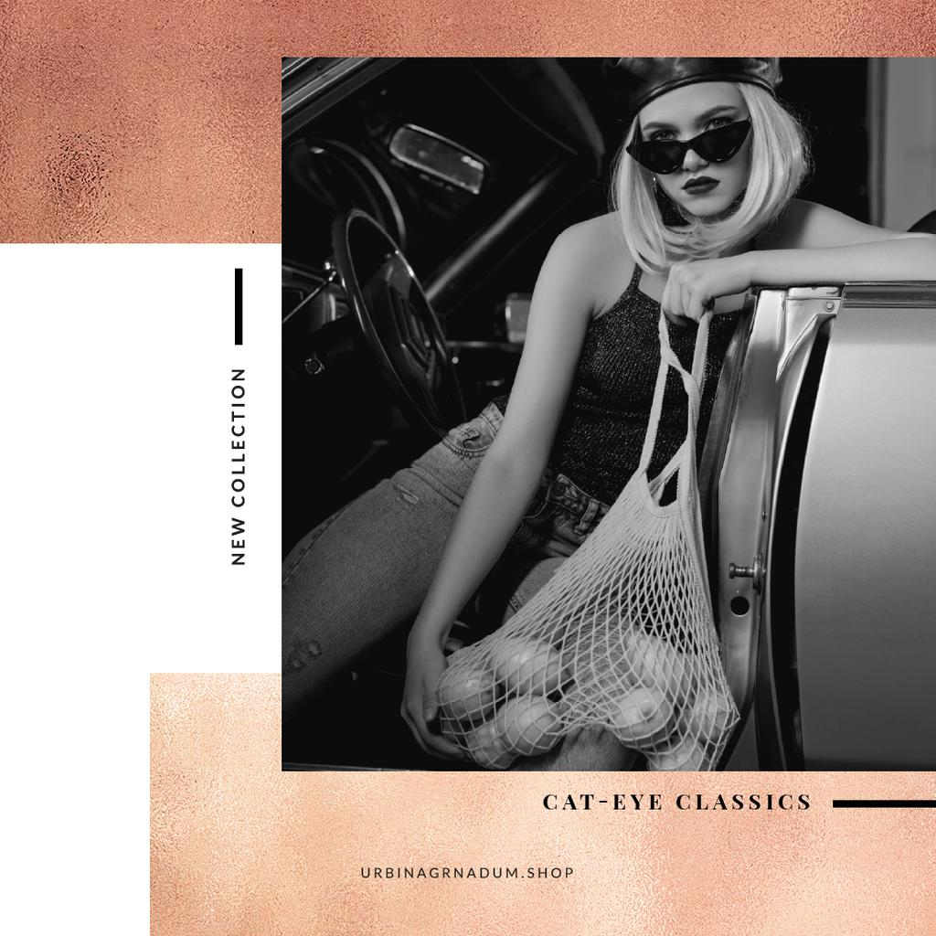Fashion collection Ad with Stylish Woman in car Instagram Design Template