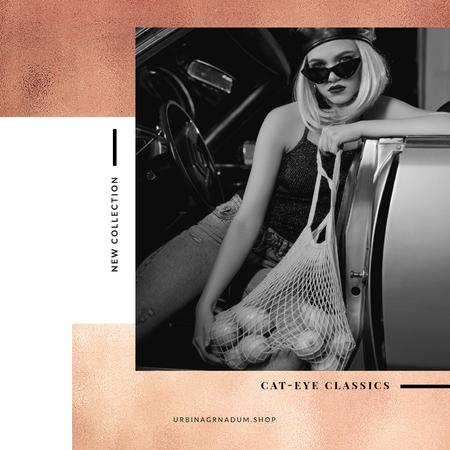 Plantilla de diseño de Fashion collection Ad with Stylish Woman in car Instagram