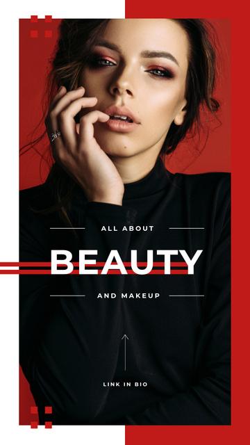Attractive woman with makeup Instagram Story – шаблон для дизайну