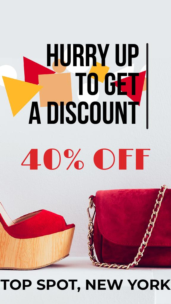 Accessories Sale with Red Handbag and Shoes | Vertical Video Template — Створити дизайн