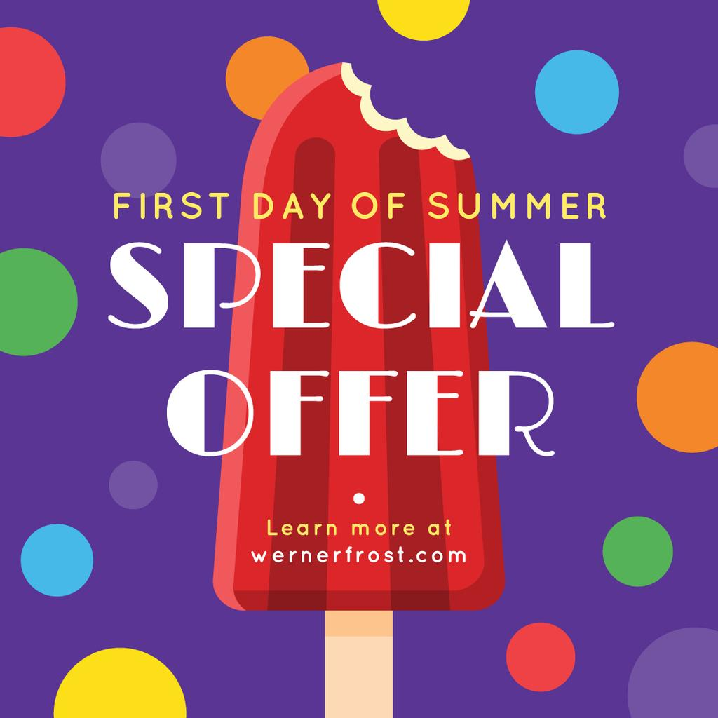 First day of Summer with Sweet red ice cream Offer Instagram Design Template