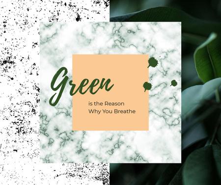 Designvorlage Green plant leaves  für Facebook