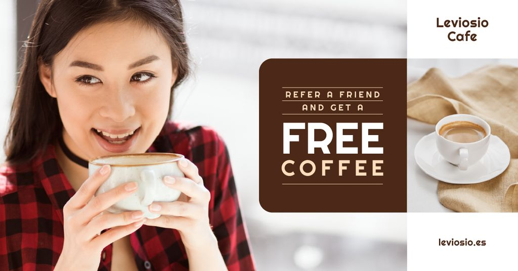 Cafe Promotion Woman with Cup of Coffee — Create a Design