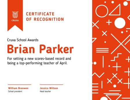 Best Teacher Recognition in red Certificate Design Template