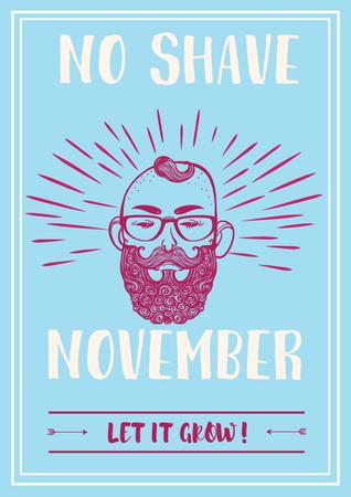 Ontwerpsjabloon van Poster van No shave November illustration