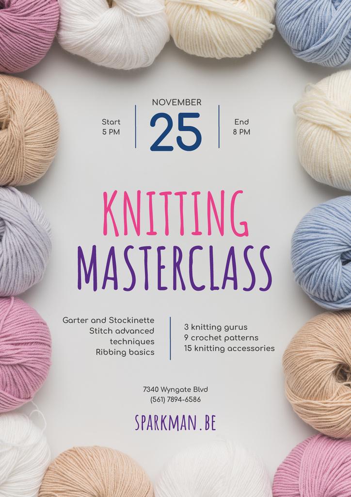 Knitting Masterclass Invitation Wool Yarn Skeins — Create a Design