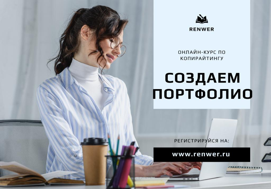 Copywriting courses promotion with Woman typing on Laptop — Create a Design