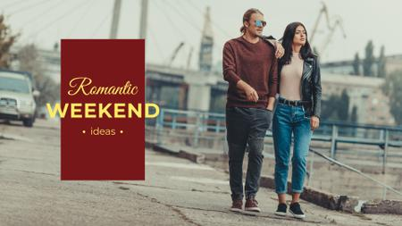 Romantic weekends ideas with Couple walking Presentation Wide Tasarım Şablonu