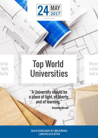 Universities guide on Blueprints Invitation Design Template