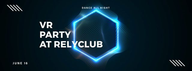 Plantilla de diseño de Flickering neon hexagon Facebook Video cover