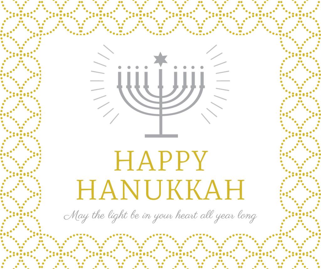 Happy Hanukkah Greeting with Menorah — Modelo de projeto