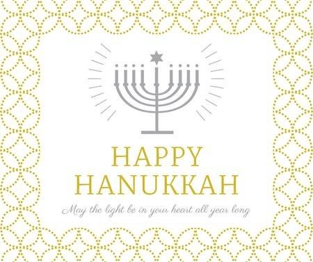 Happy Hanukkah Greeting with Menorah Facebook – шаблон для дизайну