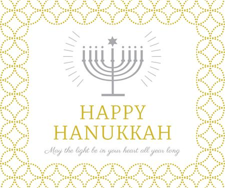 Modèle de visuel Happy Hanukkah Greeting with Menorah - Facebook