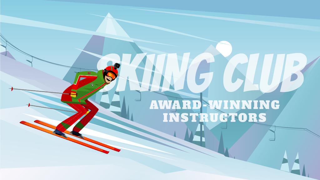 Ski Club Ad Skier on a Snowy Slope — ein Design erstellen