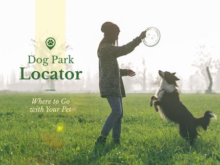 Woman playing with Dog in Park Presentation Design Template