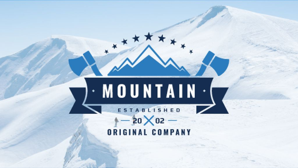 Mountaineering Equipment Company Icon with Snowy Mountains — Maak een ontwerp