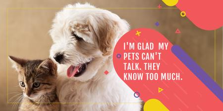 Pets Quote with Cute Dog and Cat Twitterデザインテンプレート