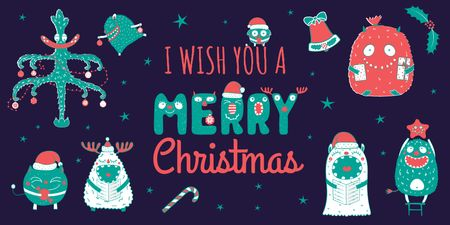 Template di design Christmas Greeting with Funny Monsters Twitter