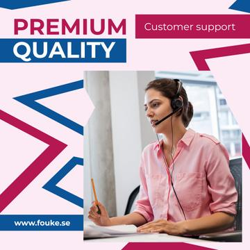 Customers Support Consultant Talking in Headset | Instagram Ad Template