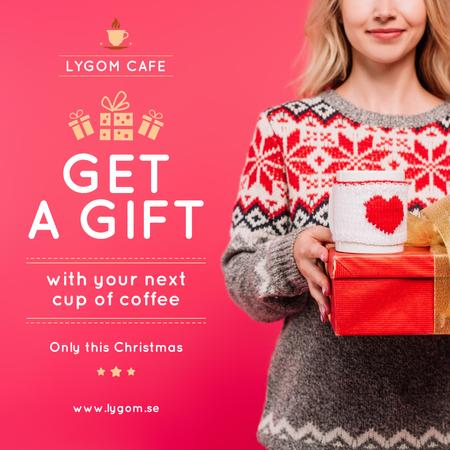 Template di design Christmas Offer Woman Holding Present and Coffee Cup Instagram