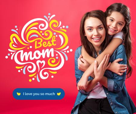 Happy Mom with daughter on Mother's Day Facebook Modelo de Design