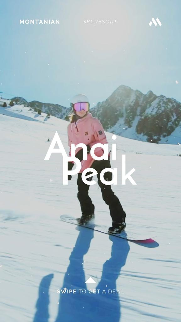 Woman Riding Snowboard in Snowy Mountains — Створити дизайн