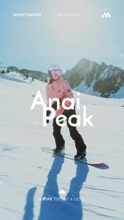 Ontwerpsjabloon van Instagram Video Story van Woman Riding Snowboard in Snowy Mountains