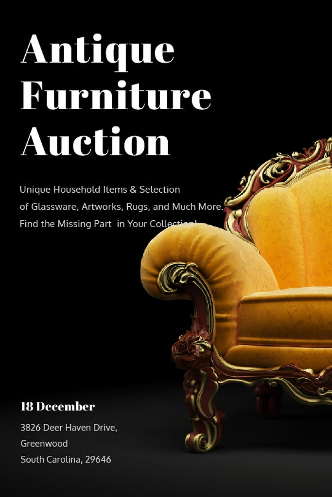 Antique Furniture Auction Luxury Yellow Armchair | Tumblr Graphics Template — Crear un diseño