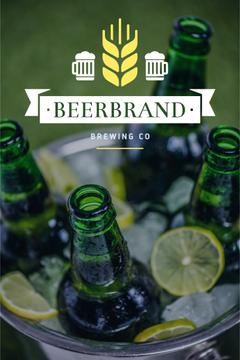Brewing Company Ad with Beer Bottles in Ice