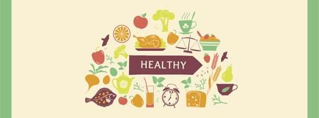 Healthy Lifestyle Attributes Icons Facebook cover – шаблон для дизайну
