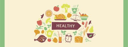 Healthy Lifestyle Attributes Icons Facebook cover – шаблон для дизайна