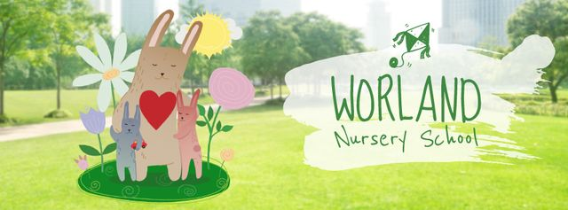 Designvorlage Bunny hugging its kids in park für Facebook Video cover