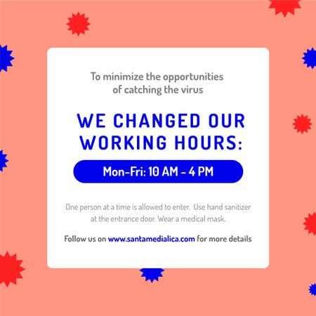 Plantilla de diseño de Working Hours Rescheduling during quarantine notice Instagram