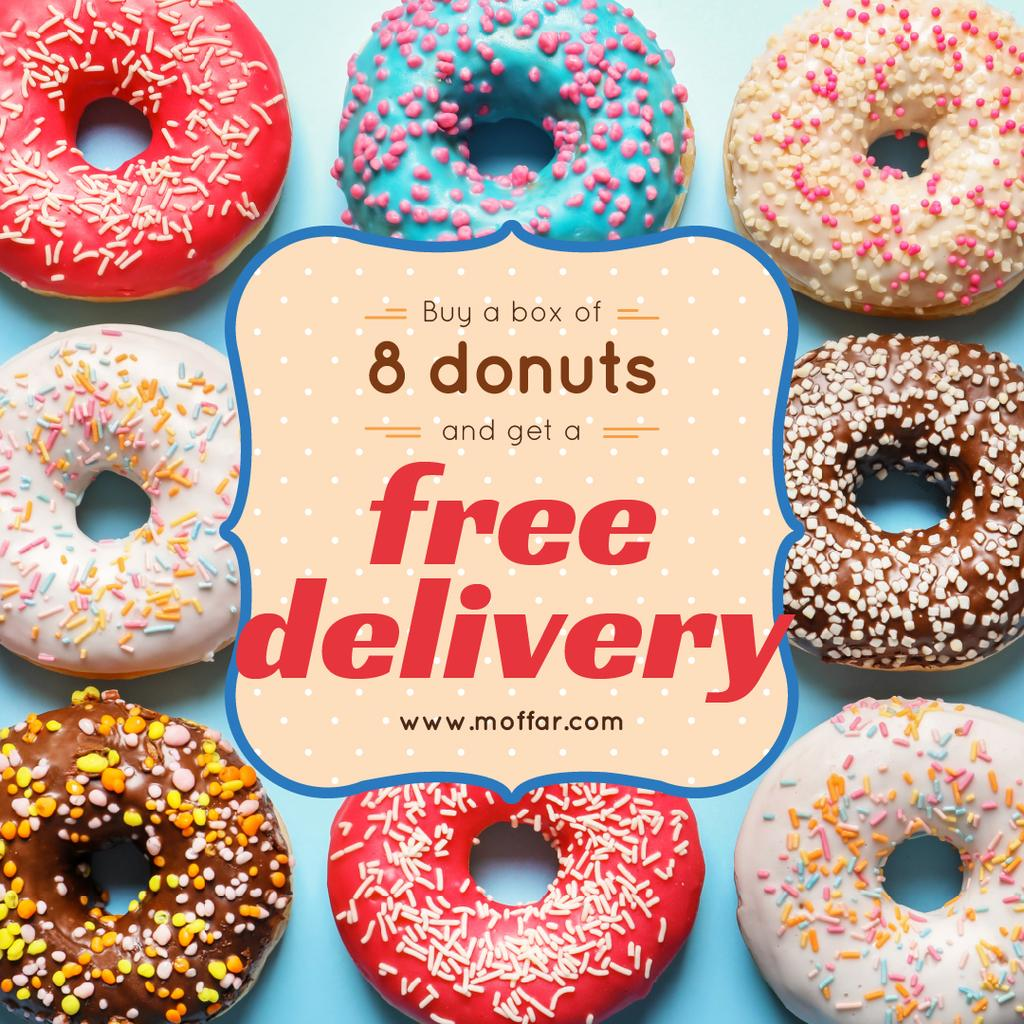 Donut Day Delivery Offer with Delicious glazed donuts — Crear un diseño