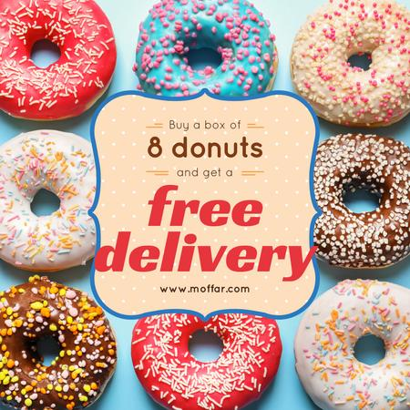 Donut Day Delivery Offer with Delicious glazed donuts Instagram Design Template