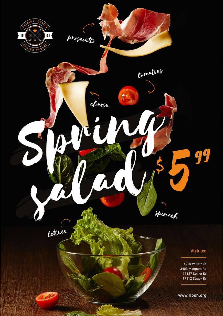 Spring Menu Offer with Salad Falling in Bowl - Bir Tasarım Oluşturun
