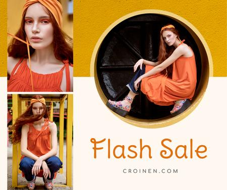 Plantilla de diseño de Fashion Sale stylish Woman in Orange Facebook