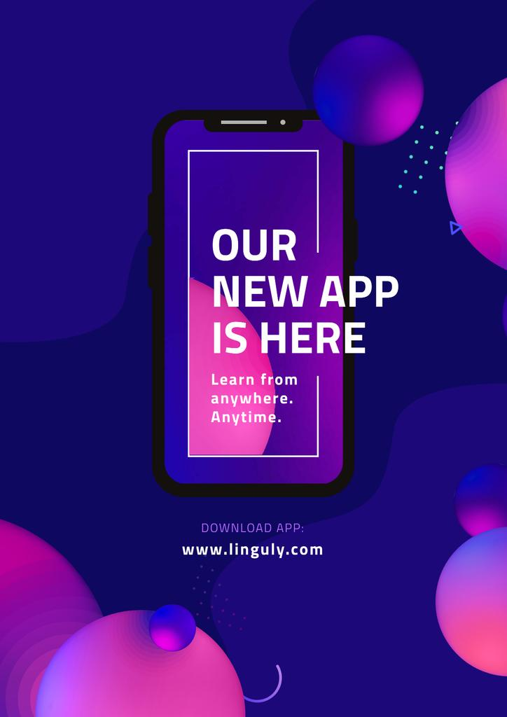 Online Foreign Languages App Poster Design Template