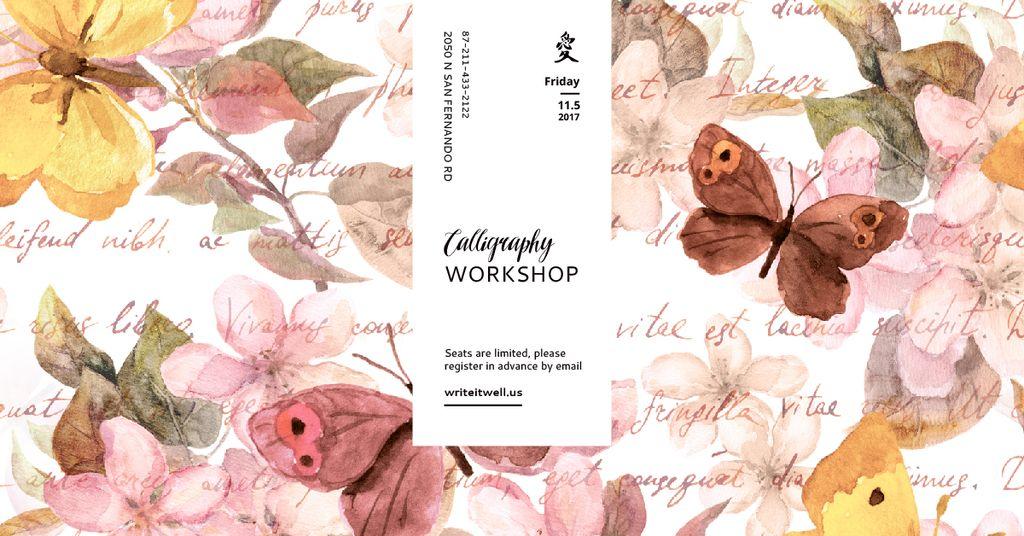 Calligraphy workshop with butterflies painting — Crea un design