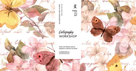 Template di design Calligraphy workshop with butterflies painting Facebook AD