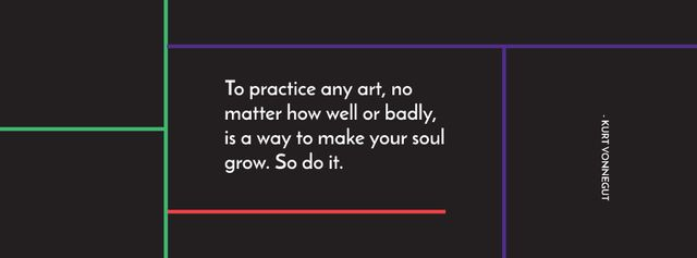 Designvorlage Citation about practice to any art für Facebook cover